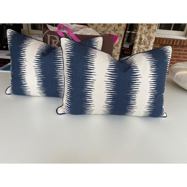Textile Blue and White Woven Striped Pillows - a Pair For Sale - Image 7 of 7