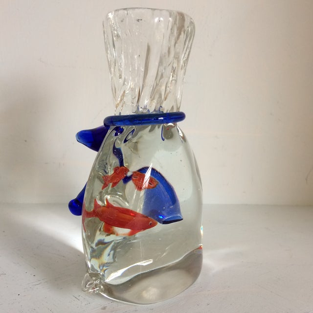 Modern Murano Blown Art Glass Goldfish Bag With Blue Tie Paper Weight or Room Accent For Sale - Image 3 of 13