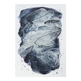 """Dana Oldfather """"Night Puddle 1"""" Abstract Painting on Paper, 2019 For Sale"""