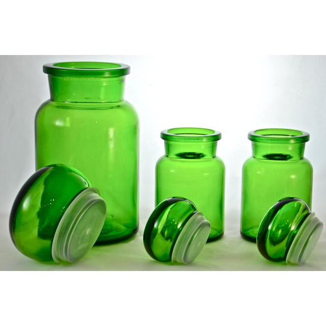 Green Belgium Ball Top Apothecary Jars - Set of 3 - Image 4 of 5