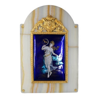 C. 1860 Blue Enamel and Gold French Louis XVI Table Clock For Sale
