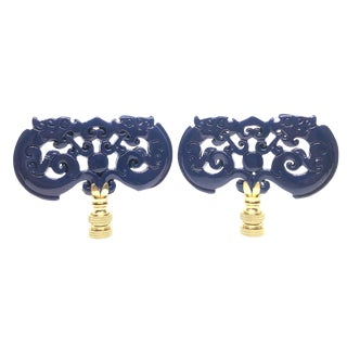 Navy Blue Lacquered Chinoiserie Lamp Finials - A Pair