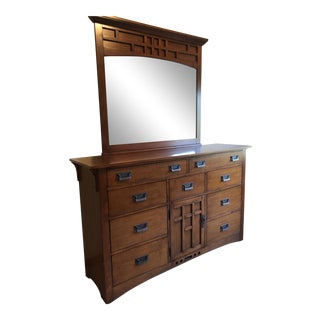 Broyhill Mission Style Dresser With Mirror For Sale