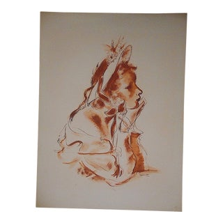 "Mid 20th C. Vintage Dignimont ""Pretty Woman"" Lithograph For Sale"