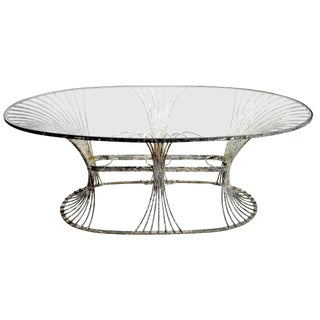 Rare Art Deco Garden Table by Leinfelder in Zinc and Glass For Sale