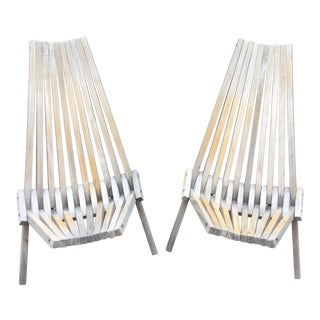 Mid-Century Modern Folding Antique-White Teak Chairs - a Pair For Sale