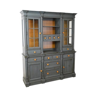 Broyhill Yorkshire Market Blue Country Pine Hutch Cabinet
