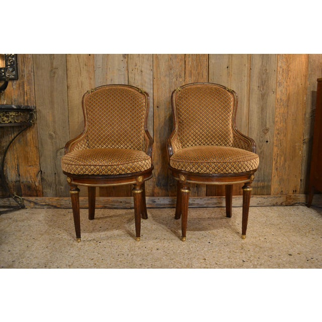 Brown Pair of Antique French Louis XVI Occasional Chairs circa 1880 For Sale - Image 8 of 8