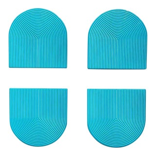 Turquoise & White Lacquer Coasters - Set of 4 For Sale