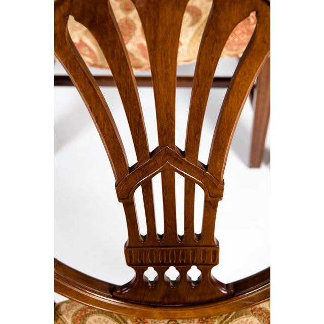 Mahogany Solid Mahogany Wood Shield Back Dining Chairs - Set of 4 For Sale - Image 7 of 13