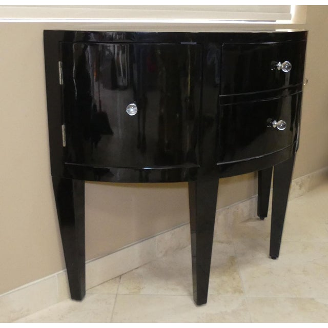 Contemporary Contemporary Black Lacquered Demilune Console Cabinet With Mirrored Top For Sale - Image 3 of 9