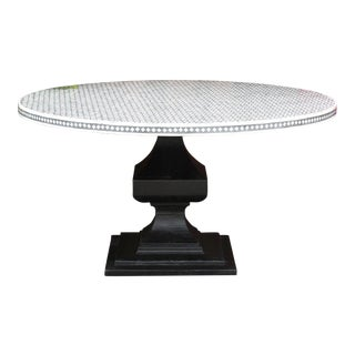 Almas Bone Inlay Pedestal Round Table For Sale
