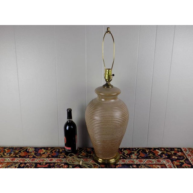 Italian 1970s Italian Incised Pottery Table Lamp For Sale - Image 3 of 13