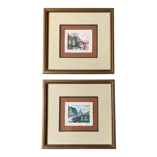 Vintage Van Doorn Signed Print Watercolors - a Pair For Sale