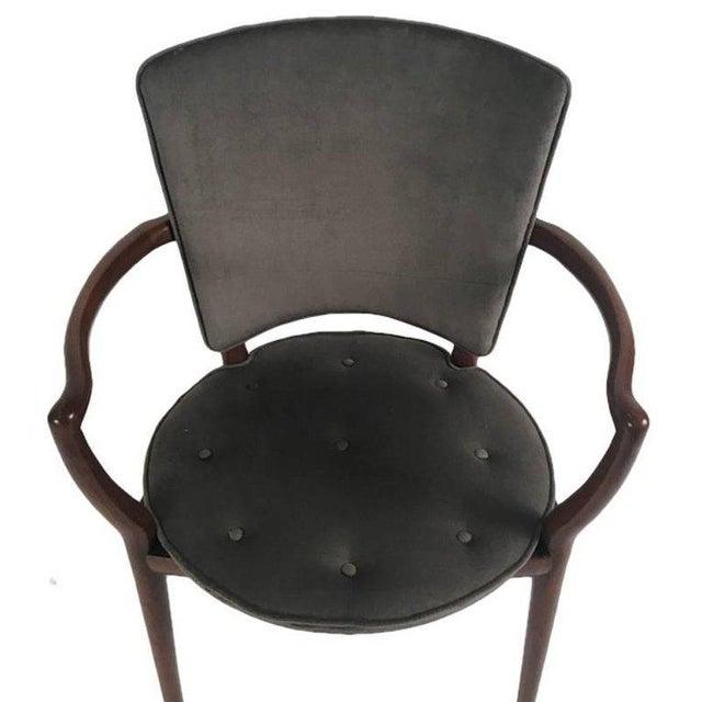 Bert England for Widdicomb Desk/ Armchair in Grey Velvet With Tufting For Sale In New York - Image 6 of 12