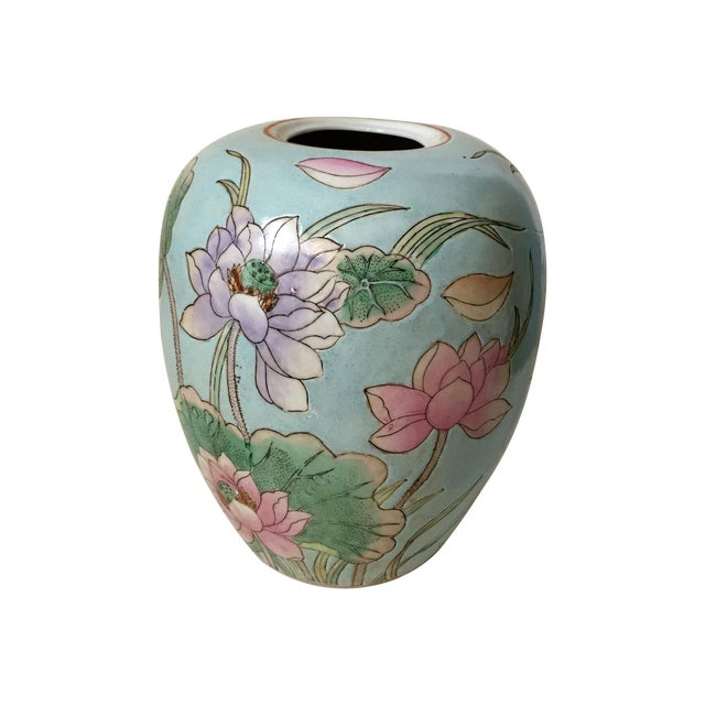 Waterlily Pattern Chinese Vase For Sale