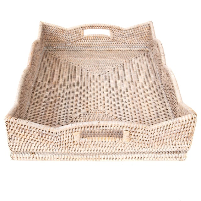 2010s Artifacts Rattan Scallop Collection Rectangular Tray For Sale - Image 5 of 5