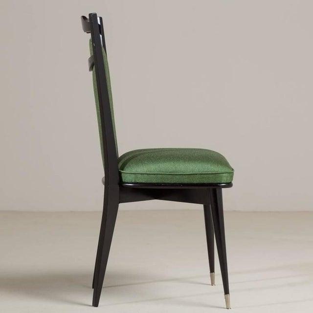 Set of Six Italian Ebonized Framed Dining Chairs, 1950s - Image 4 of 7