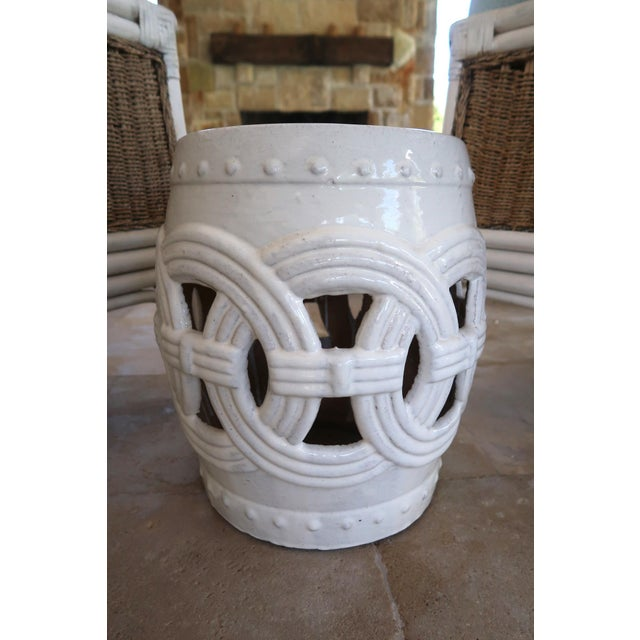 Handmade Indian Rings Stools from Wisteria in white with a gorgeous reactive glaze and an interlocking rings design...