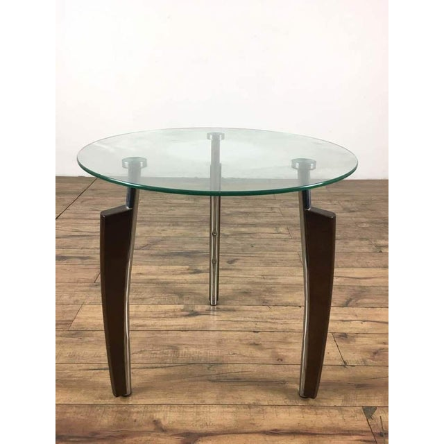 Mid Century Modern Chrome Glass Side Table For Image 5