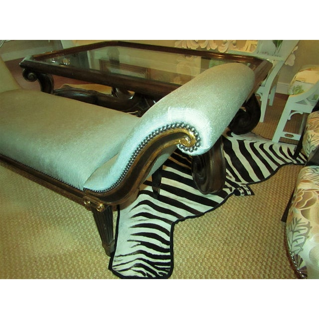 "2000 - 2009 Marge Carson ""Iona"" Seafoam Upholstered Bench For Sale - Image 5 of 6"