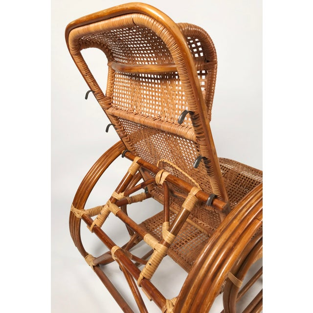 Brown Rattan Reclining Lounge Chair W/ Ottoman For Sale - Image 8 of 10