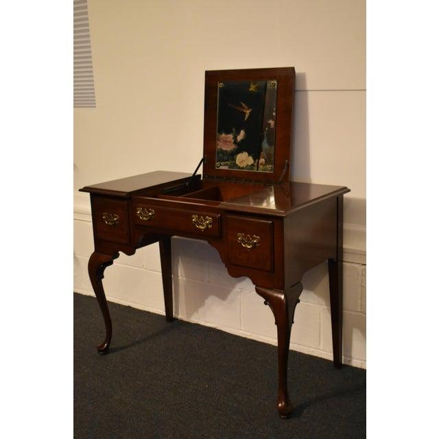 Brown Vintage Ethan Allen Queen Anne Style Solid Cherry Flip Top Vanity For Sale - Image 8 of 13