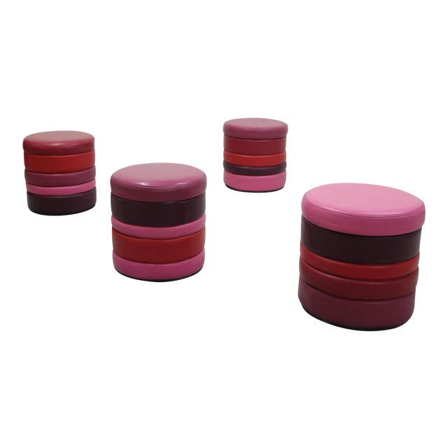 Vintage Stacked Multicolor Colorful Stools or Ottomans - Set of 4 For Sale
