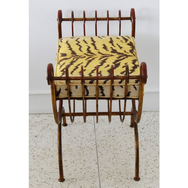 Scalamandre Velvet Tiger Hollywood Glam Italian Gilt Vanity Bench For Sale In Los Angeles - Image 6 of 13