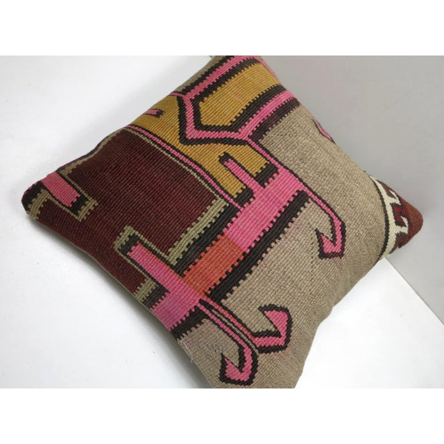 Vintage Turkish Kilim Throw Pillow For Sale - Image 6 of 8