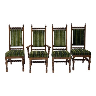 Early 20th Century Vintage Barley Twist Oak Upholstered Chairs- Set of 4 For Sale