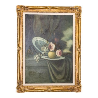 Antique Still Life Painting in Giltwood Frame | Floral Fruit | Moody Landscape For Sale