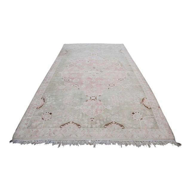 "Vintage Muted Turkish Oriental Rug Carpet - 10'11"" x 6'7"" - Image 1 of 10"