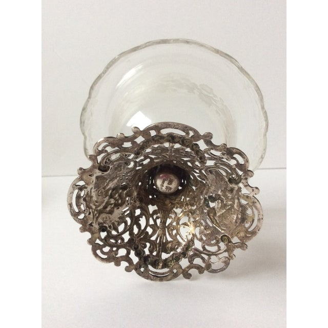 Metal European Etched Crystal & Silver Compote For Sale - Image 7 of 9
