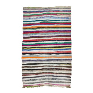 "Vintage Striped Rag Rug - 6'7"" x 10'7"" For Sale"