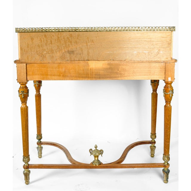 Brass Antique French Louis XV Style Satinwood Writing Desk For Sale - Image 7 of 8