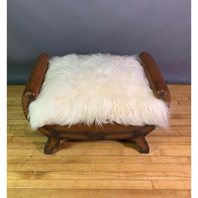 Boet 1930s Otto Schulz Leather & Sheepskin Footstool, Boet, Sweden For Sale - Image 4 of 11