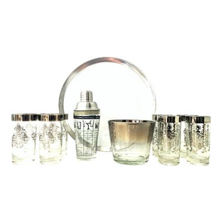 Mid-20th Century Dorothy Thorpe Sterling Silver and Glass Set- Set of 11 For Sale