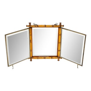 1887 Wiederer's Triple Japonism Shaving Mirror With Stand to Keep Open on Bureau For Sale