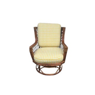 Mid-Century Swivel Bamboo Chair & Custom Cushion