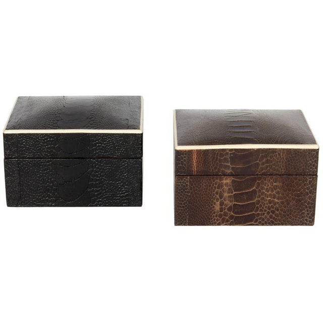 Stunning organic modern decorative boxes wrapped in exotic ostrich leather with bone inlay trim. All handcrafted in fine...