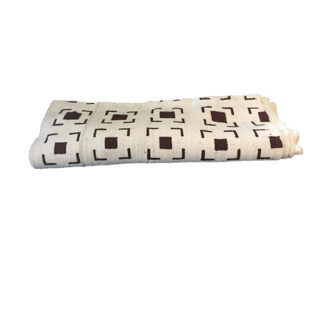 Brown Brown and White Mud Cloth Textile Mali For Sale - Image 8 of 8