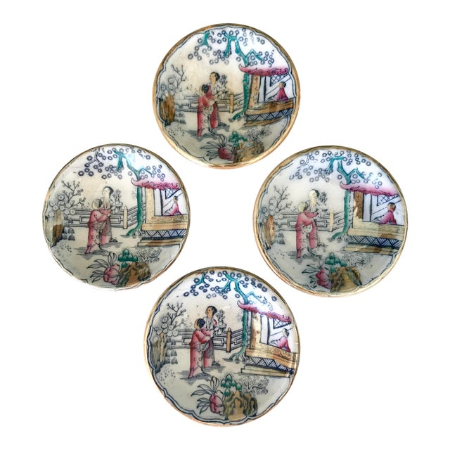 Chinoiserie Sushi / Soy Sauce Dish, Set of 4 For Sale
