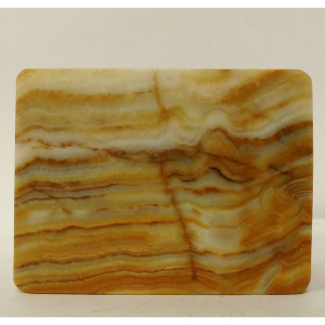 Transitional Vintage Carved Onyx Box For Sale - Image 3 of 10