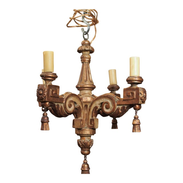18th Century Italian Small Gilt Wood Chandelier For Sale