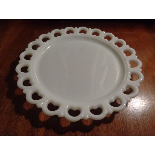 Mid-Century Large Milk Glass Heart Cake Platter Tray For Sale - Image 4 of 6