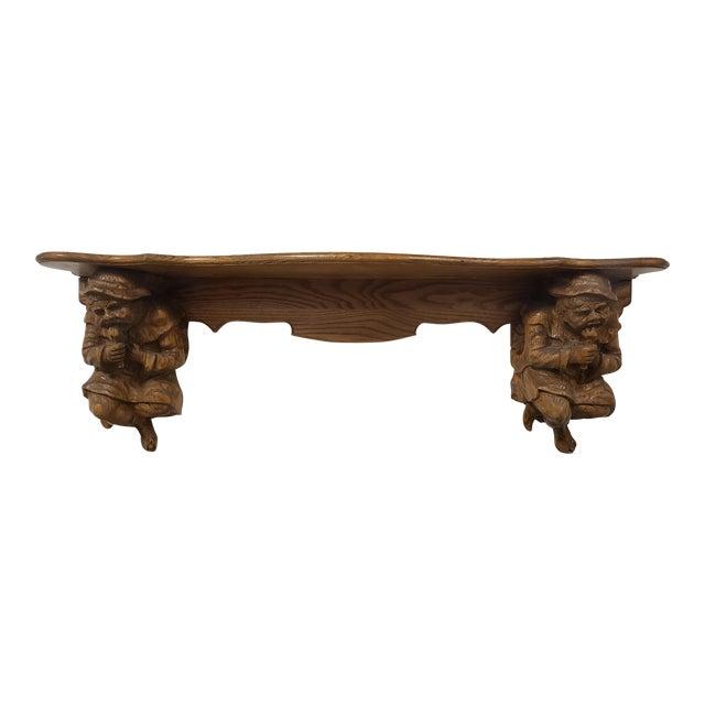 Antique Hand Carved Black Forest Oak Mantle For Sale