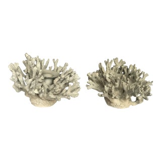 Griege White Coral Candleholders - A Pair