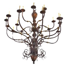 Large Early 1900s Handmade Copper and Brass Chandelier - Image 1 of 9