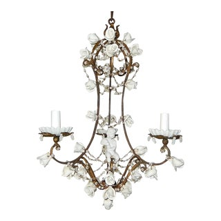 1920 French White Opaline With Cherub and White Roses Chandelier For Sale